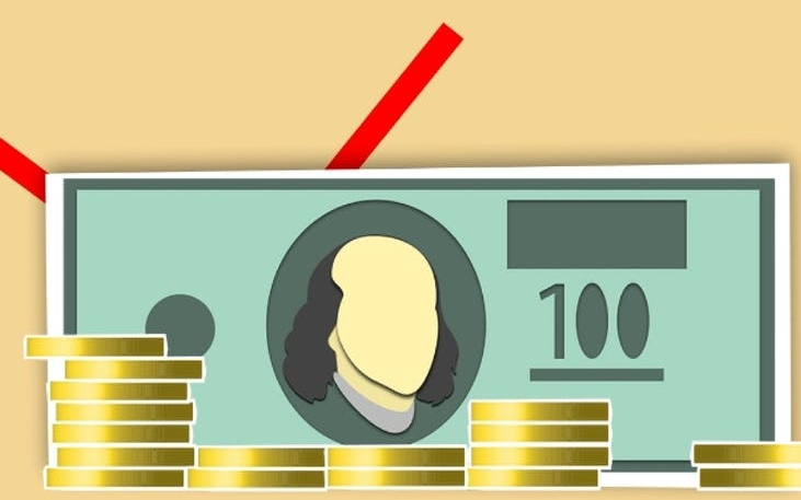 illustration of banknote and coins representing economy concept